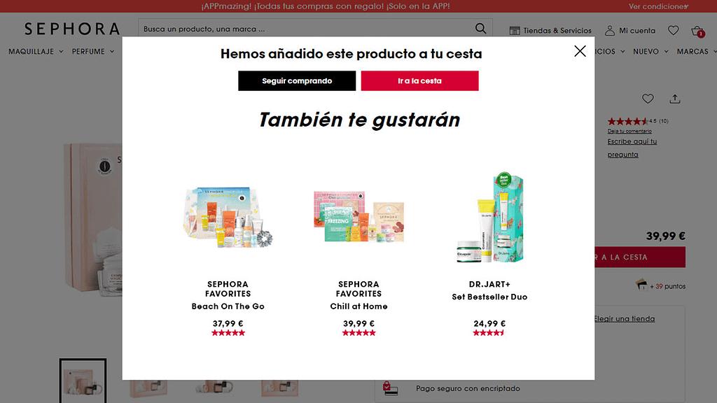 ejemplo de venta cruzada por Sephora