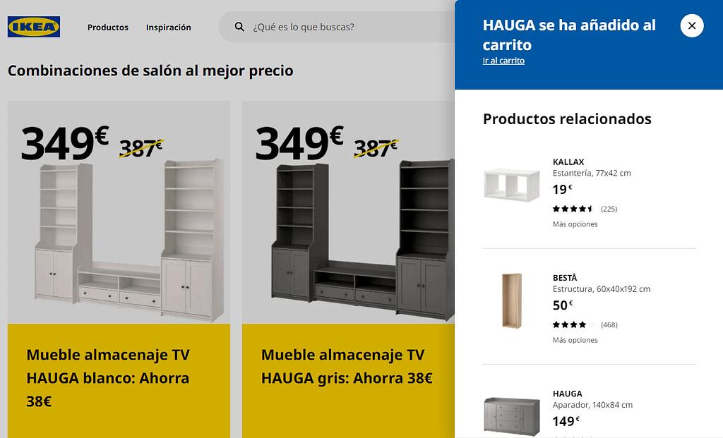 venta cruzada de IKEA por combinacion y popup
