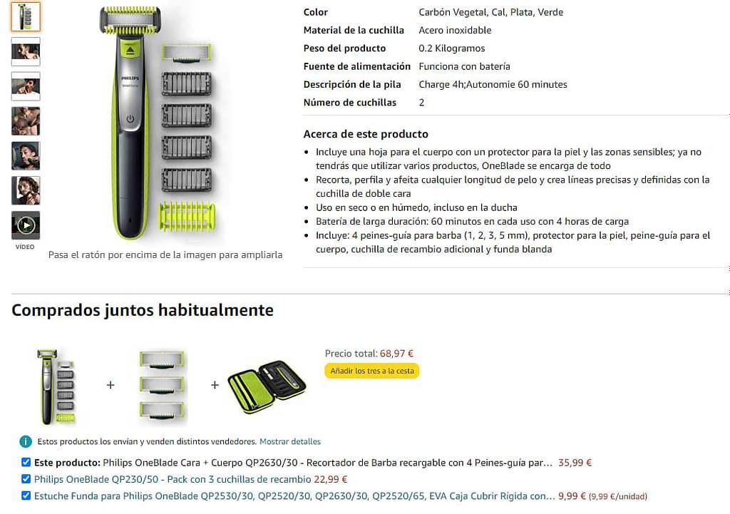 Ejemplo de venta cruzada por Amazon