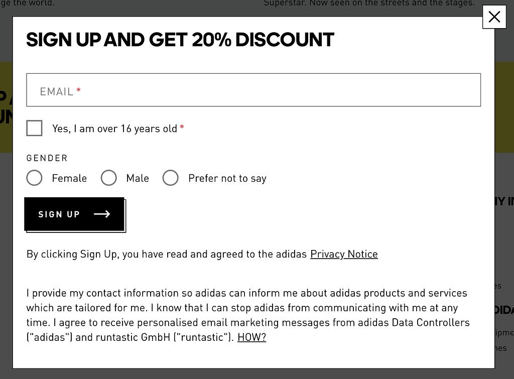 GDPR compliant form Adidas