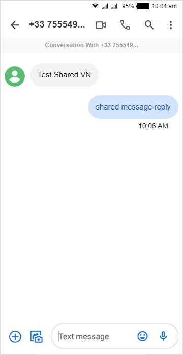 message replied to shared virtual number