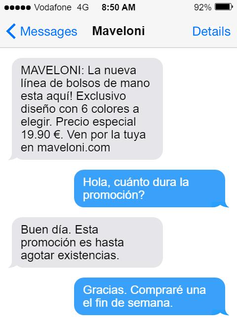 ejemplo de lanzamiento de producto por SMS