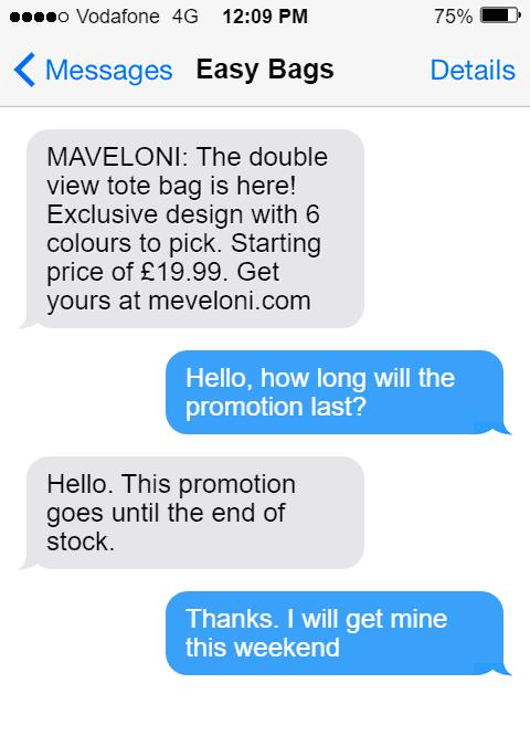 product launch conversation about new bag. Client ask about promotion