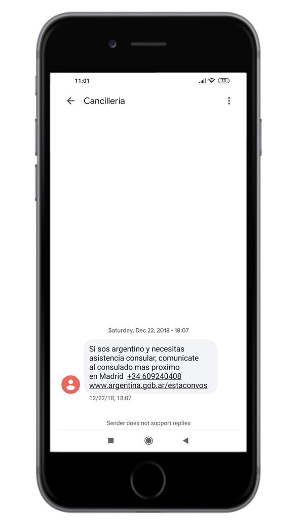 cancilleria argentina sms