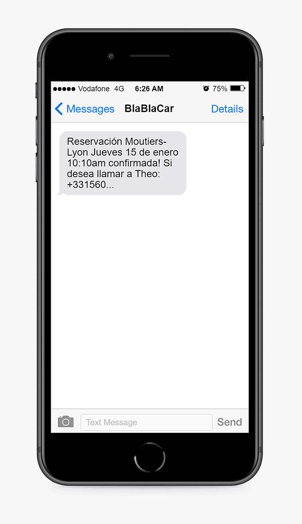 mensaje sms de BlaBlaCar