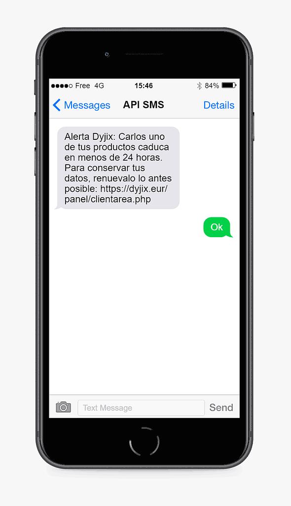 alerta por mensaje sms ejemplo Dyjix