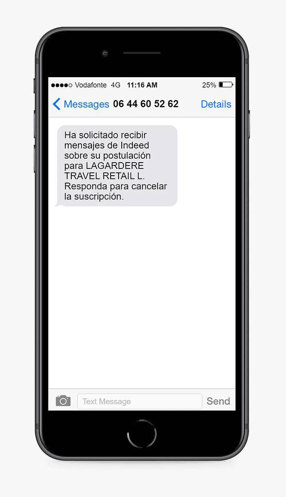 mensaje SMS de Indeed ejemplo