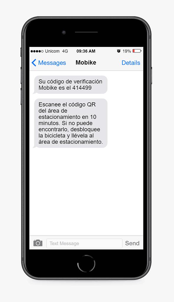 mensaje SMS Mobike