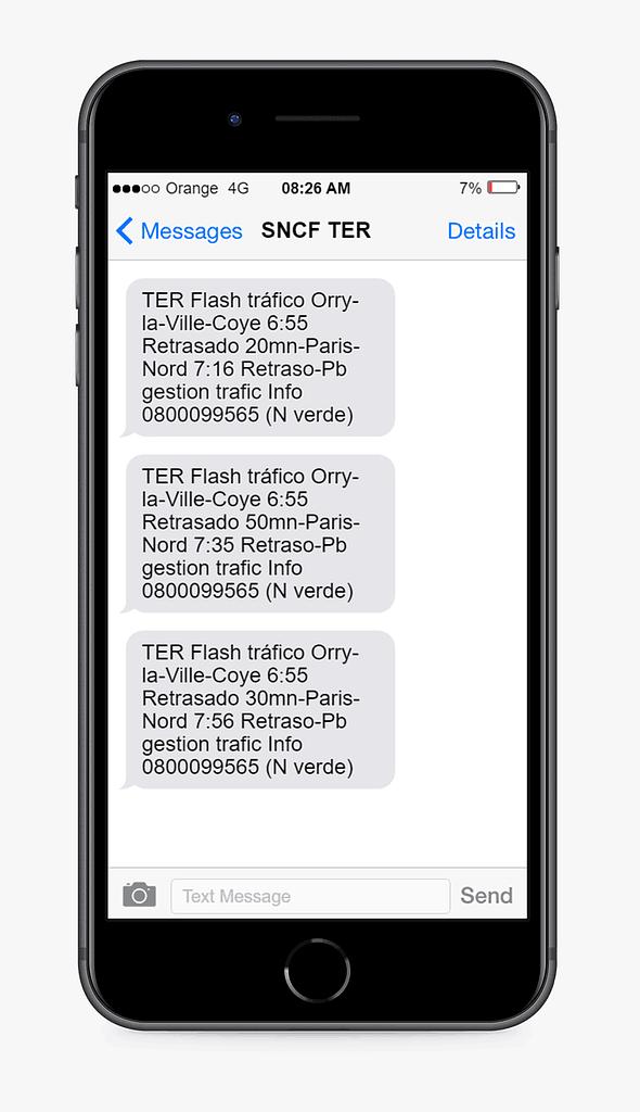 alerta SMS SNCF
