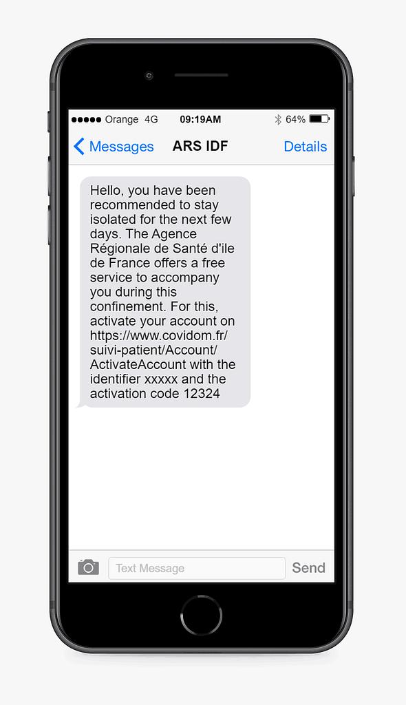 text message example from ars idf