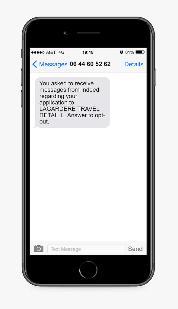 text message example from indeed