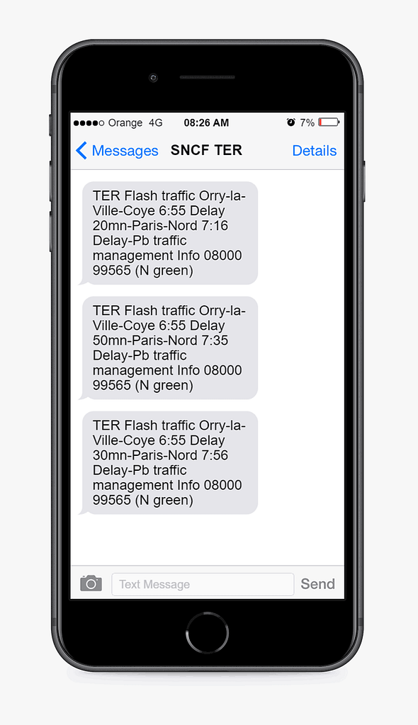 text message example from sncf
