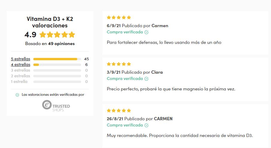 ejemplo de opiniones de clientes en tienda en línea