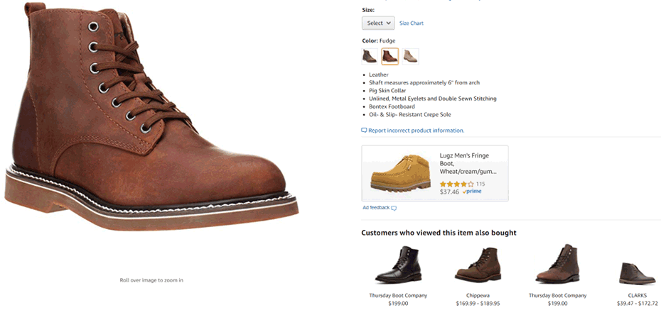 example of selling boots and accessories Amazon