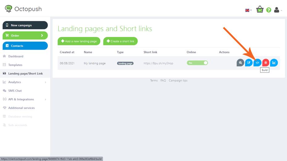 SMS 2.0 activation Step 5: start building your design