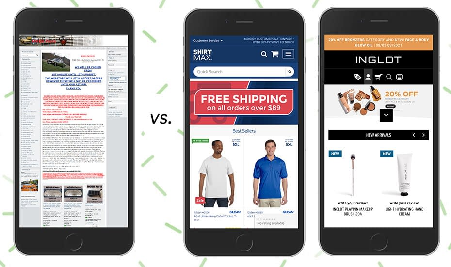 Example of one landing page with a column layout that doesn't adapt to mobile vs. two pages adapted to mobile device