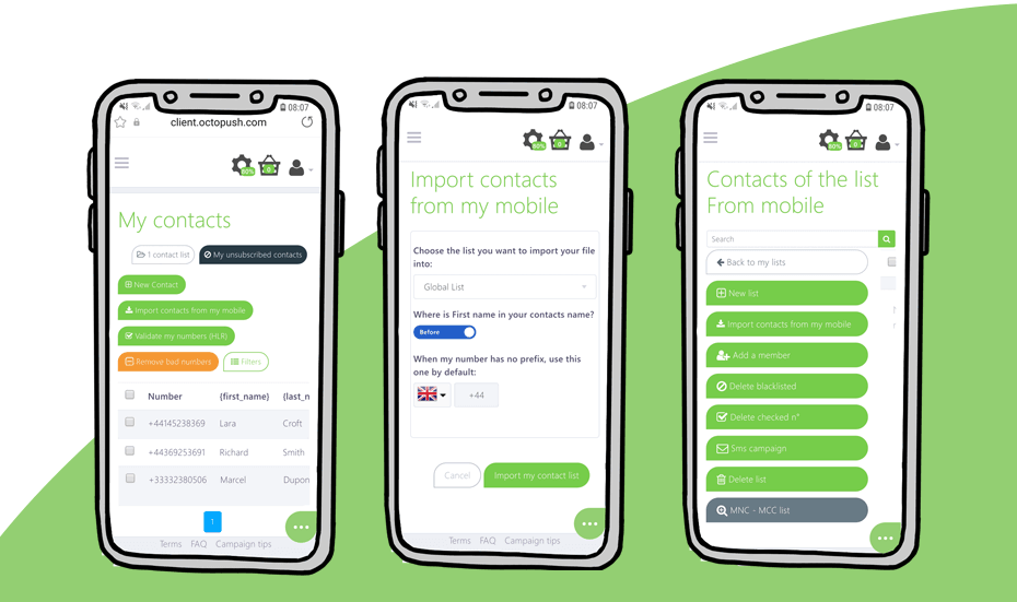 import your contact list screen captures